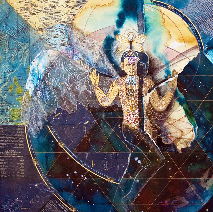 link to mystical mixed media gallery Suchness winged figure with maps teal blue sharmon davidson
