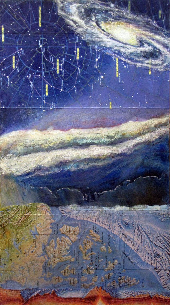 mixed media collage painting as above so below contellations map storm front ocean map