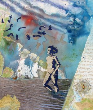 mixed media painting as the crow flies woman ocean birds