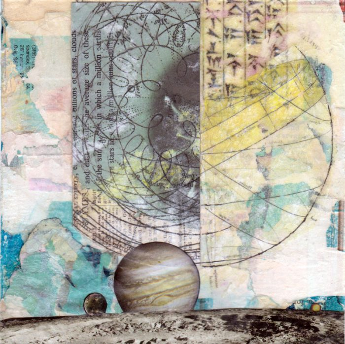 layered mixed media space planets blue yellow 6 x 6