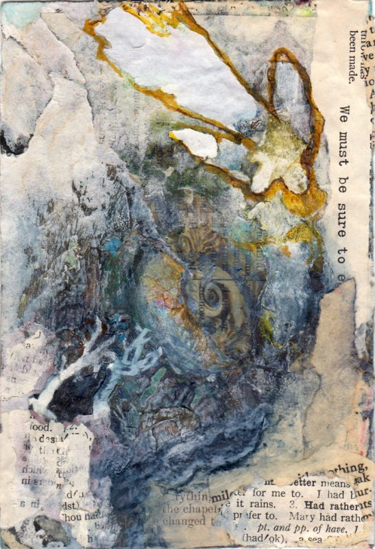 small mixed media painting falling angelic figure 4 x 6