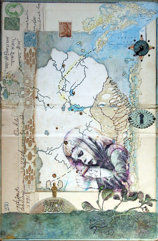 vintage map collage flight path child with wings imaginary map