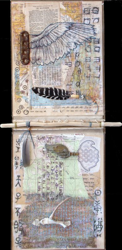 mixed media book cover collage ephemera found objects feathers sharmon davidson