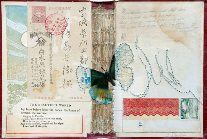 vintage mixed media collage for emma butterfly and ephemera 8 x 11.75