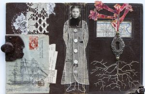 vintage ephemera collage immgrant girl 14 x 10