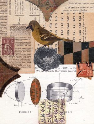 mixed media paper collage nest bird 7 x 5.25