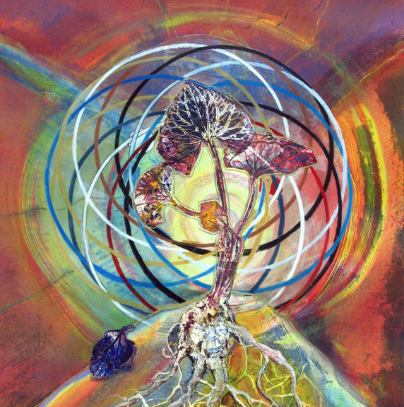 colorful mystical mixed media painting plant seed roots with kalachakra symbol sharmon davidson