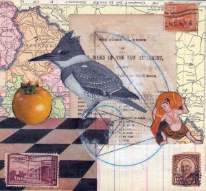 mixed media bird art map kingfisher 5.5 x 6