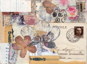 vintage paper ephemera collage abstract flowers 5.5 x 7