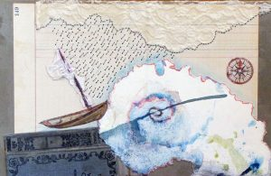 mixed media collage lost II boat hurricane 11 x 14