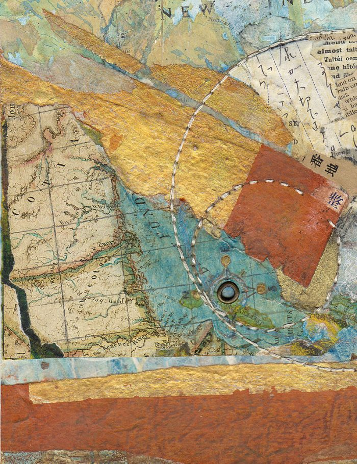 Map I mixed media map collage abstract map
