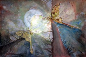 nature-inspired watercolor painting moon shadows moths in forest with moon