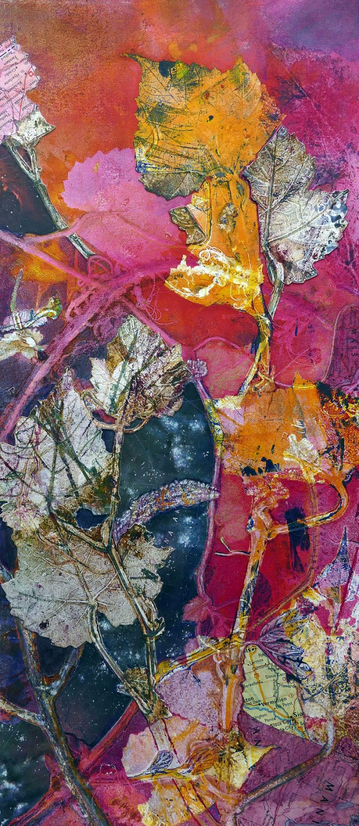 passage between mixed media foliage nature sharmon davidson