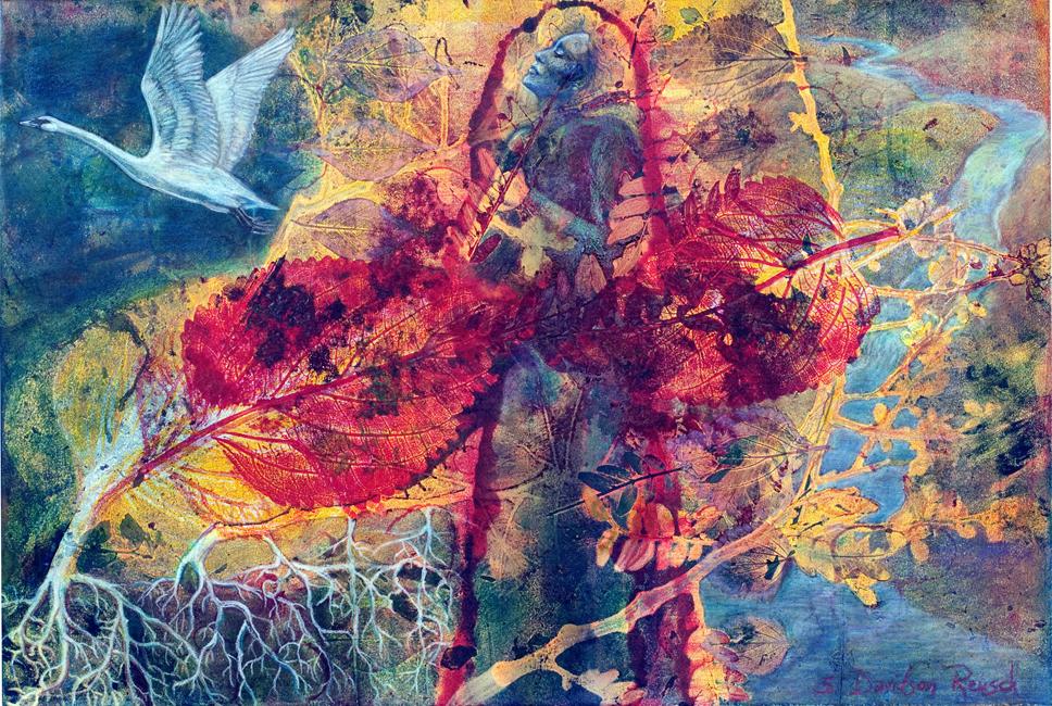 spiritual mixed media art prayer woman praying plants swan