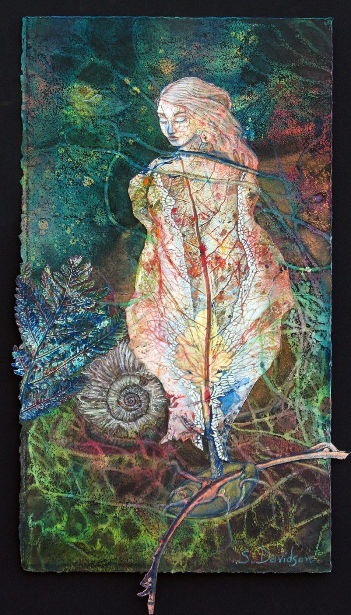 monoprint collage painting seeding leaf fairy in foliage sharmon davidson