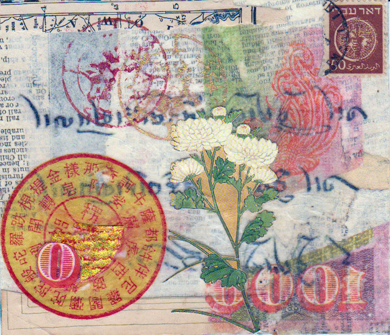 paper ephemera collage serendipity Asian designs 4.5 x 5