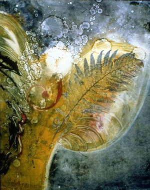 mystical monoprint star being II angelic figure plants in space