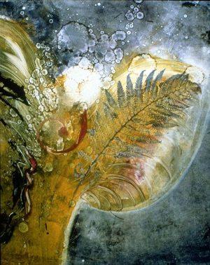 mystical monoprint star being II angelic figure plants in space