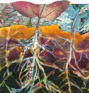 mixed media nature collage plants roots 7 x 7