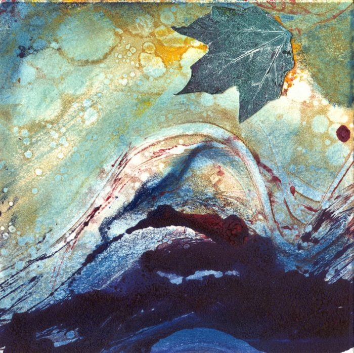 transformation 5 blue mixed media collage water leaf 7 x 7
