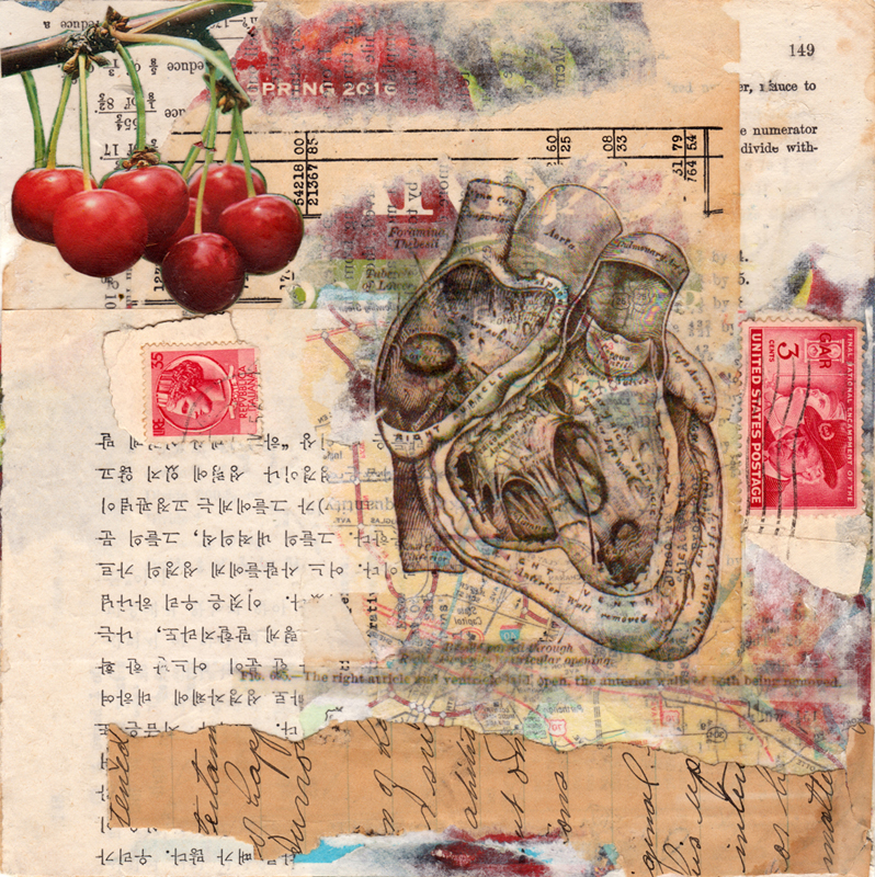 the heart wants what it wants layered collage 7 x 7