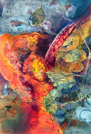 Angel of the Flame spiritual painting 18x22 monoprint with mixed media orange, red, blue