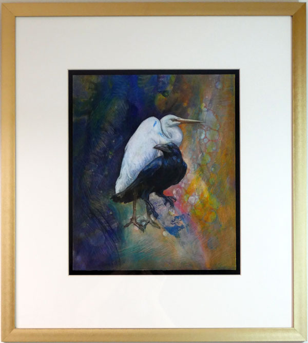 nature-inspired painting heron and crow with multi-colored background