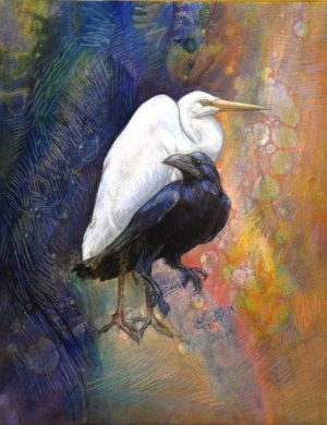 mixed media bird painting heron and crow sharmon davidson