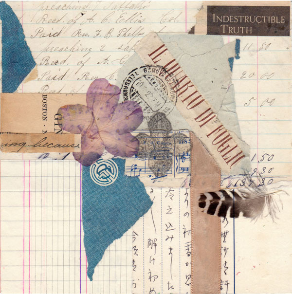 mystical mixed media paper collage indestructible truth abstract vintage ephemera 6 x 6