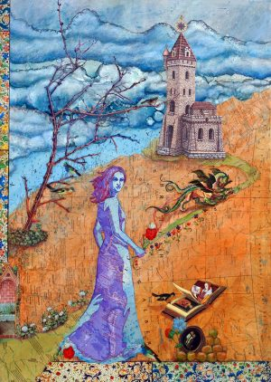 inspiration and influences the traveler's tale: once upon a time mixed media surrealist collage woman entering fairy tale land