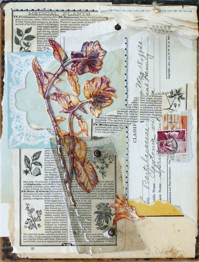 nature inspired mixed media what the flowers know II vintage ephemera flowers