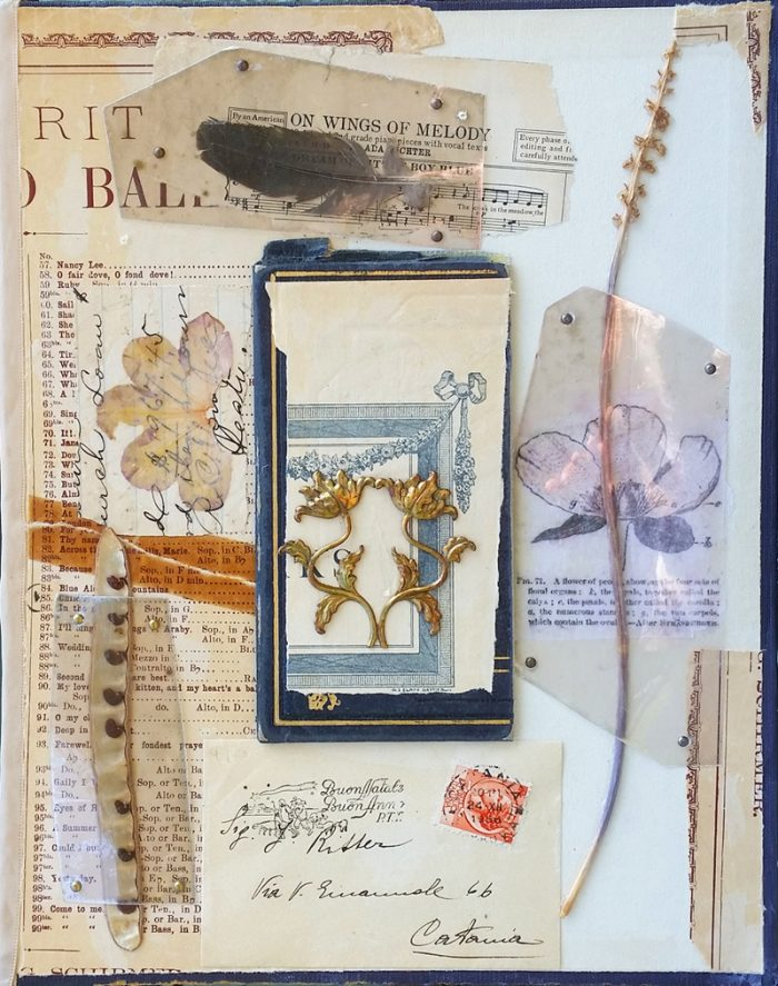 floral collage with vintage ephemera what the flowers know sharmon davidson