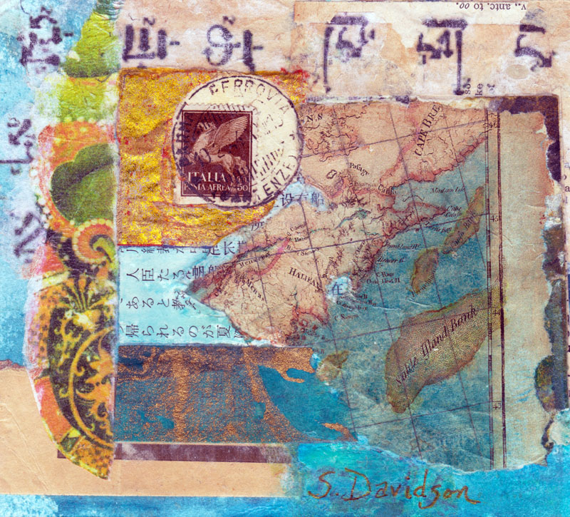 small map collage map III mixed media sharmon davidson