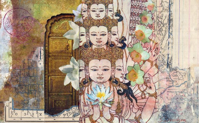 small spiritual collage Avalokiteshvaara in Bloom mixed media sharmon davidson