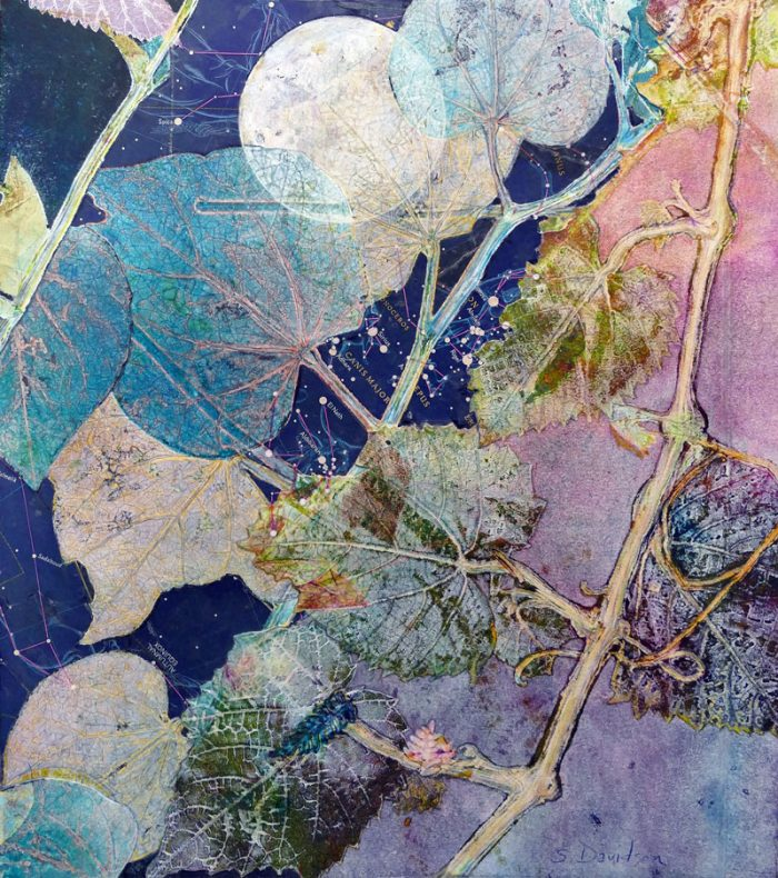 nature inspired print day into night mixed media sharmon davidson