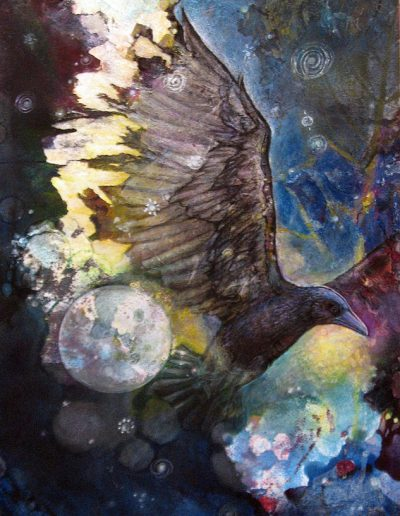 crow-creates-the-night-mixed-media-sharmon-davidson