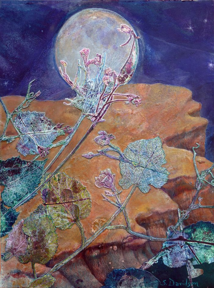 mystical monoprint painting contemporary mixed media moon net sharmon davidson art