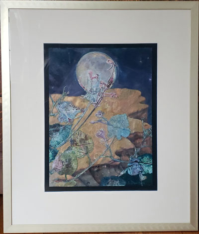 mystical monoprint painting moon net sharmon davidson