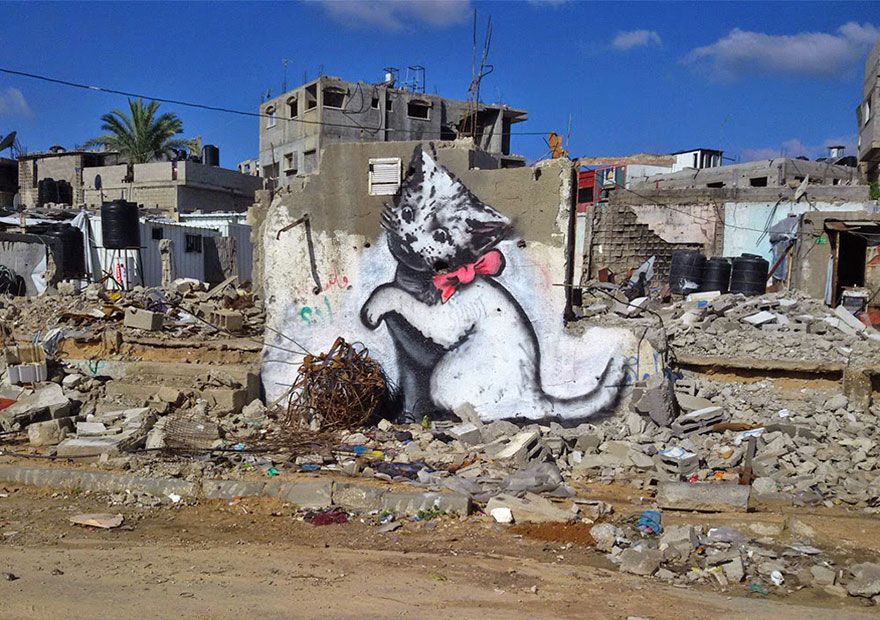 protest art banksy gaza strip