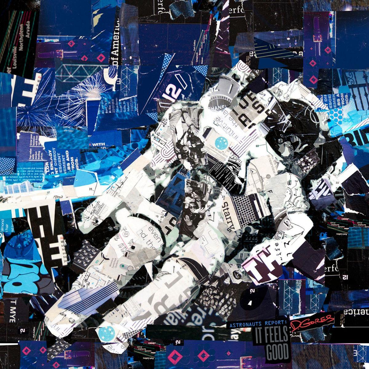 collage artists derek gores astronaut