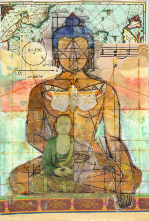 small mystical collage deconstructed reconstituted 3-layer buddha with a cherry on top sharmon davidson