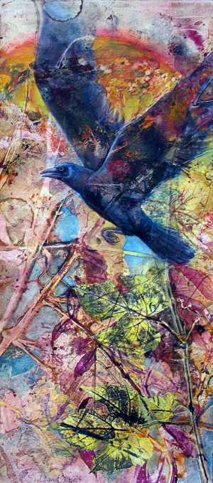 bird painting rise monotype with mixed media sharmon davidson product image